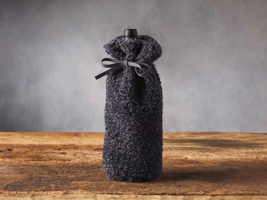 Charcoal Faux Sherpa Wine Bag, slide 1 of 3