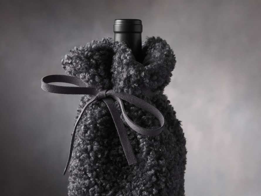 Charcoal Faux Sherpa Wine Bag, slide 2 of 3