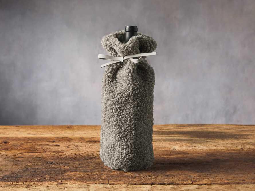 Grey Faux Sherpa Wine Bag, slide 1 of 3