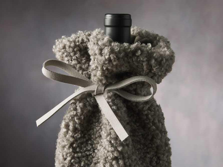 Grey Faux Sherpa Wine Bag, slide 2 of 3