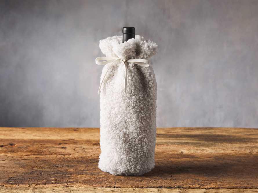 Ivory Faux Sherpa Wine Bag, slide 1 of 3