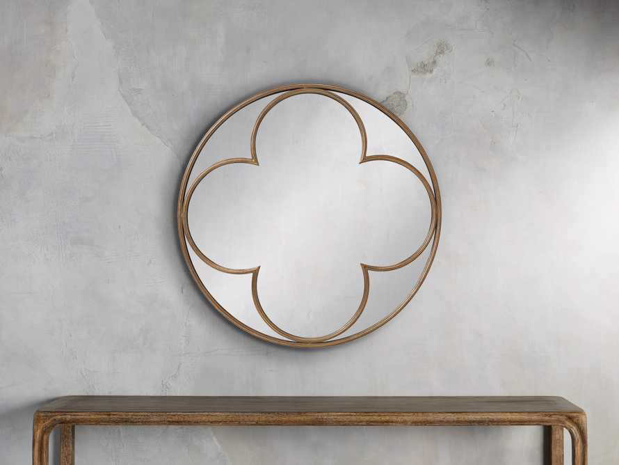 "Quatrefoil 43"" Round Mirror in Gold, slide 1 of 3"