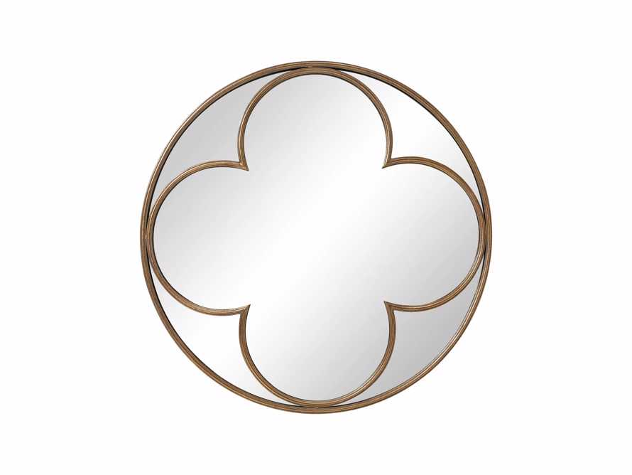 "QUATREFOIL 43"" ROUND MIRROR IN GOLD, slide 2 of 3"