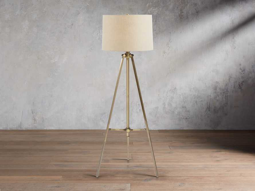 Clarence Floor Lamp With Natural Shade in Antiqued Brass, slide 1 of 6