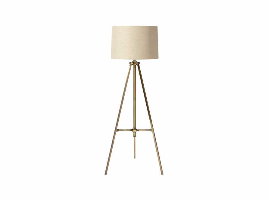 Clarence Floor Lamp With Natural Shade in Antiqued Brass, slide 2 of 6