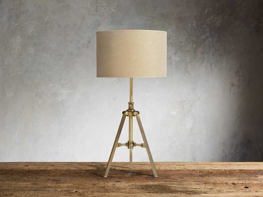 Clarence Table Lamp With Natural Shade in Antiqued Brass, slide 1 of 3