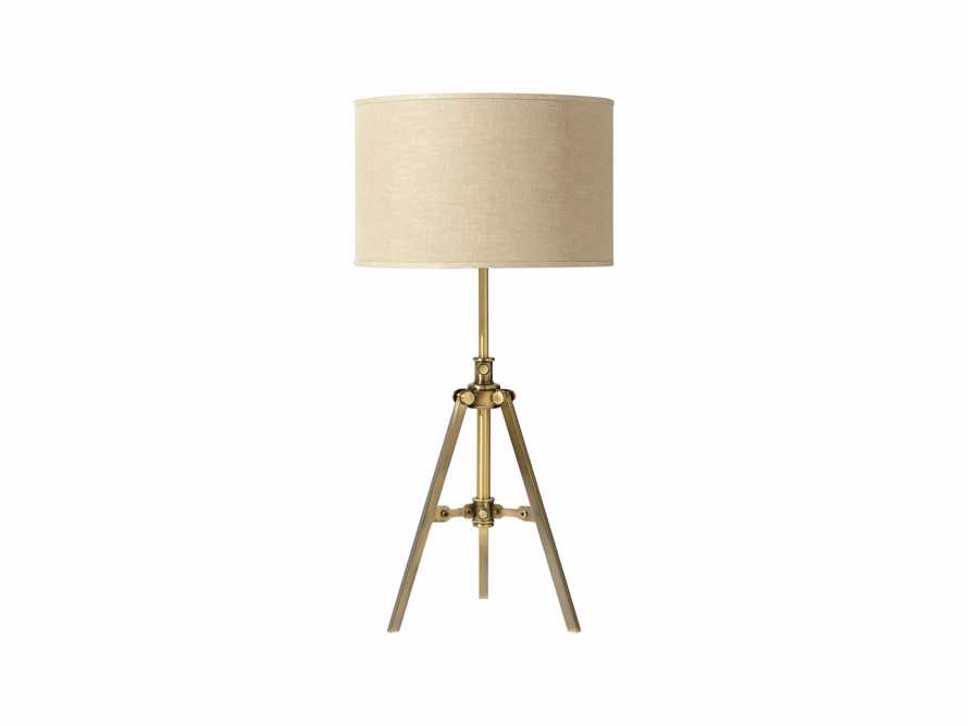 Clarence Table Lamp With Natural Shade in Antiqued Brass, slide 3 of 3