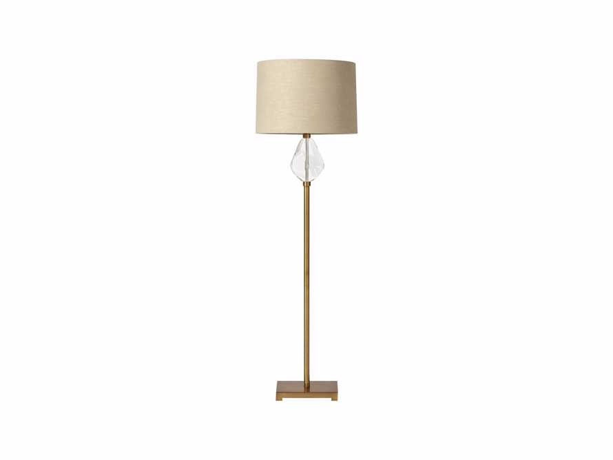 Lola Teardrop Floor Lamp With Natural Shade in Brass