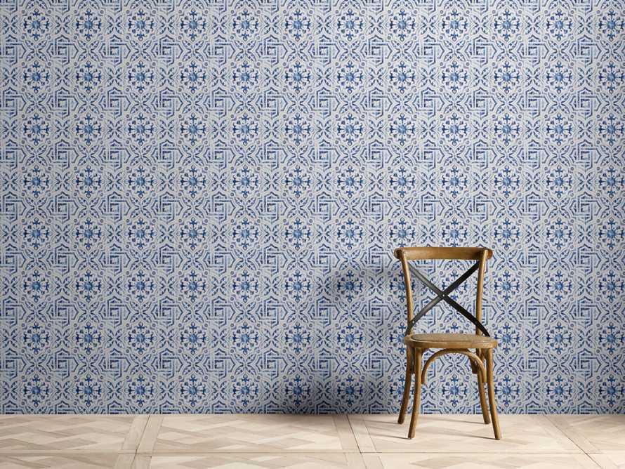 Arabesque Tile Wallpaper in Blue, slide 1 of 2