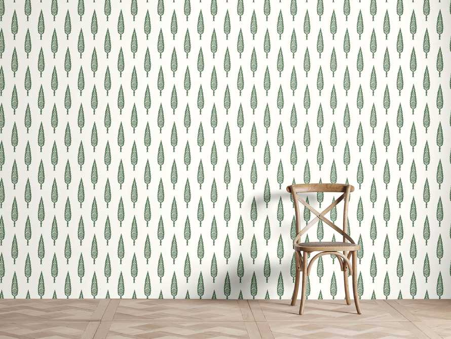 Genevrier Wallpaper in Green, slide 1 of 2