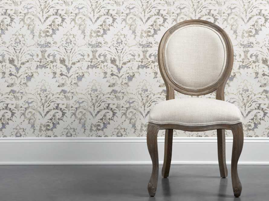 Antiqued Damask Wallpaper in Tan