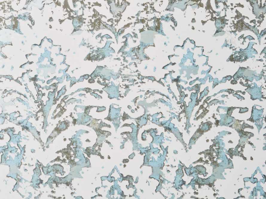 Antiqued Damask Wallpaper in Aqua, slide 1 of 1