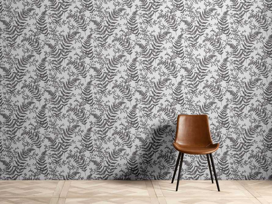 Flocked Fronds Wallpaper in Grey, slide 1 of 3