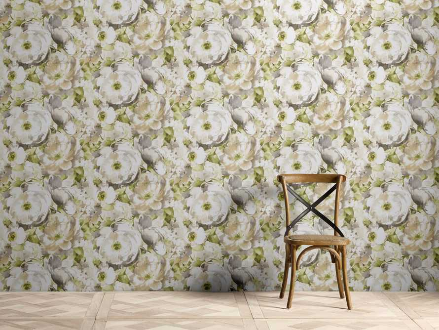Charming Garden Green and Taupe Wallpaper, slide 1 of 2