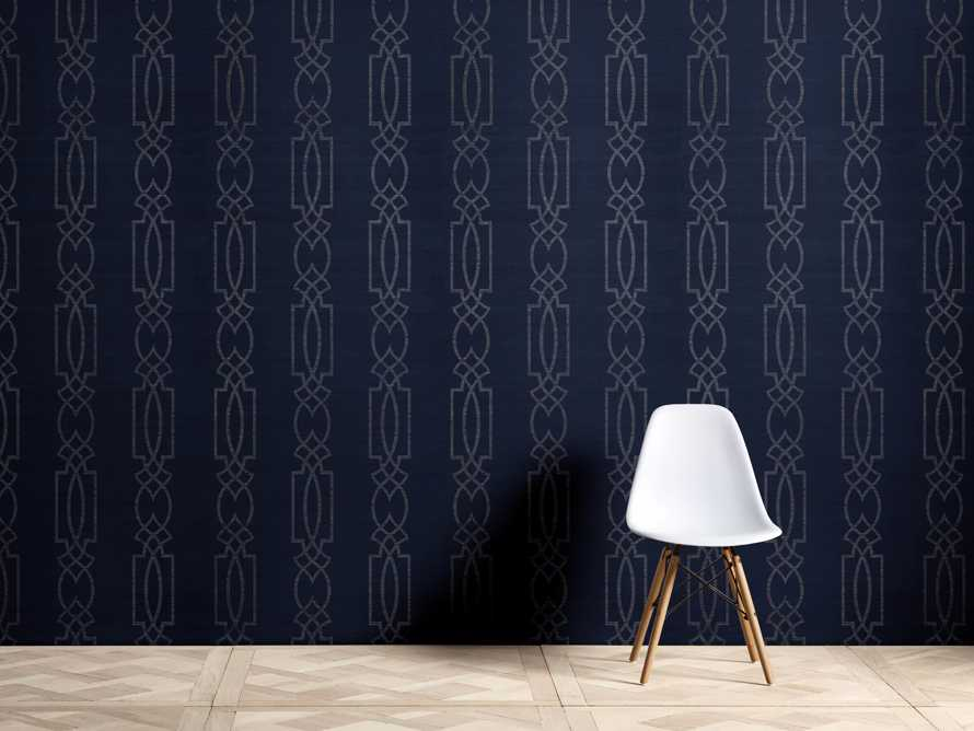 Espalier Grasscloth Wallpaper in Silver and Blue, slide 1 of 2