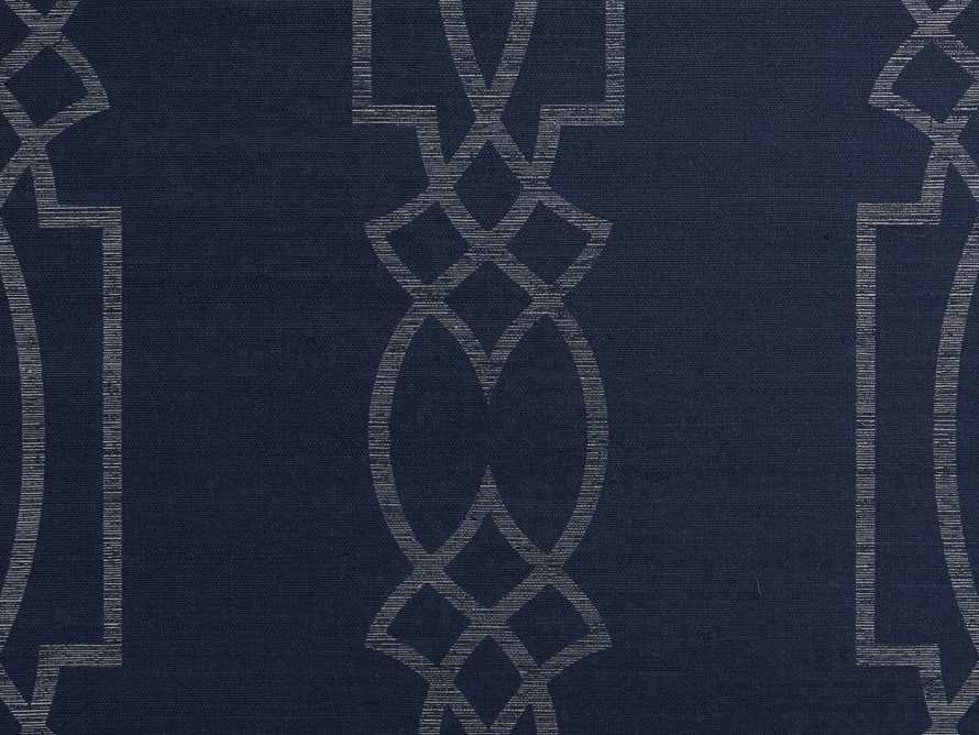 Espalier Grasscloth Wallpaper in Silver and Blue, slide 2 of 2
