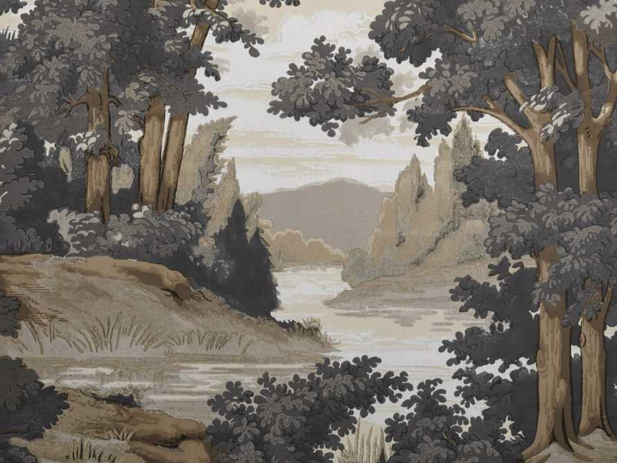 River Scene Grey and Taupe Wallpaper, slide 2 of 2