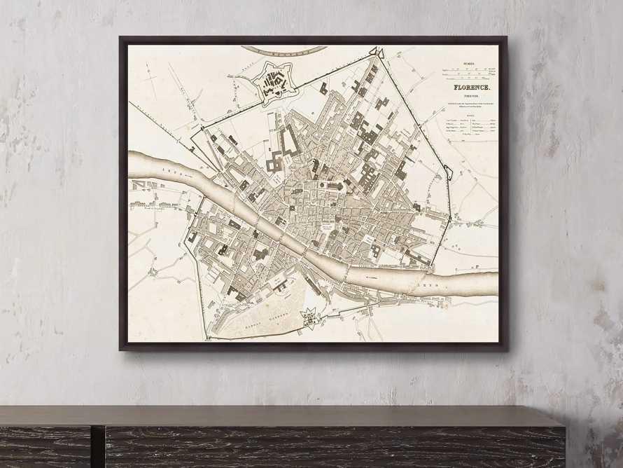 """Vintage Florence Map 33"""" X 27"""" Framed Print"""
