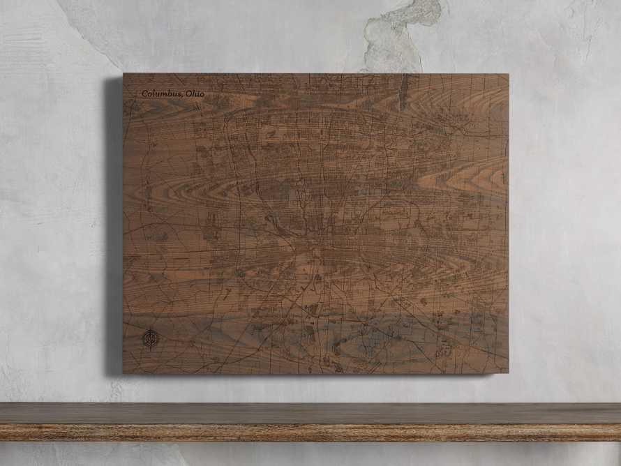 Engraved Wood Columbus Street Map in Briarsmoke, slide 1 of 3