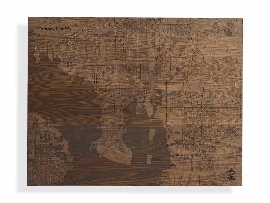Engraved Wood Tampa Florida Street Map in Briarsmoke, slide 3 of 3
