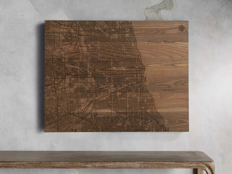 Engraved Wood Chicago Street Map in Briarsmoke, slide 1 of 3