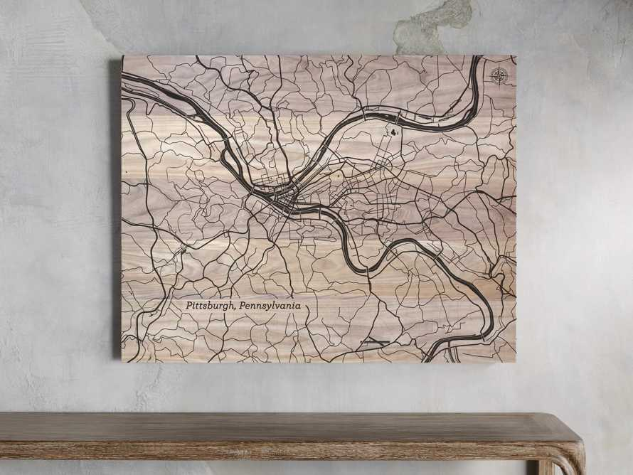 Engraved Wood Pittsburgh Street Map in Natural, slide 1 of 1