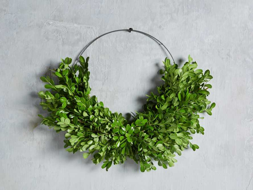 Fresh Boxwood and Myrtle Half Wreath, slide 2 of 3