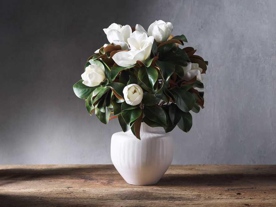 """Faux Magnolia in White Vase 30.5"""", slide 1 of 2"""