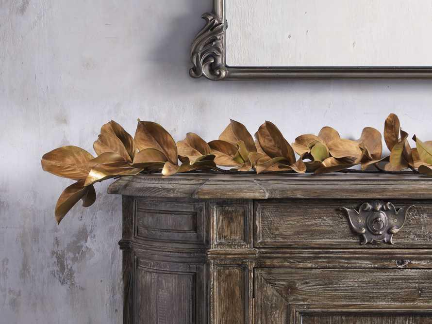 Faux Magnolia Gold Leaf Garland 5', slide 2 of 3