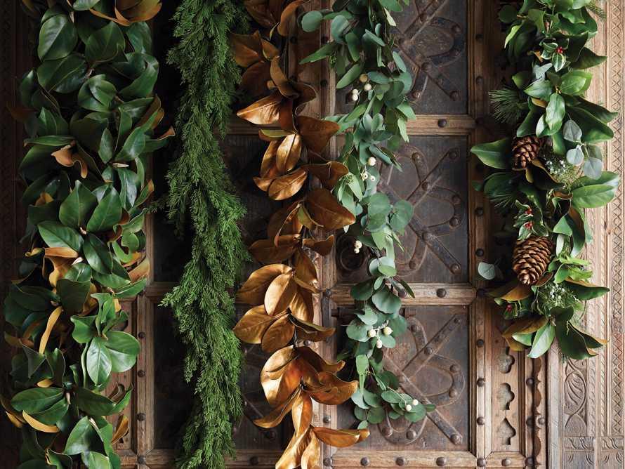 Faux Magnolia Gold Leaf Garland 5', slide 3 of 3