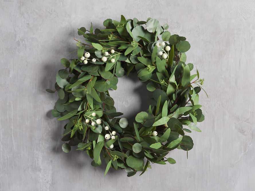 "Faux Seeded Eucalyptus Wreath 24"", slide 1 of 3"
