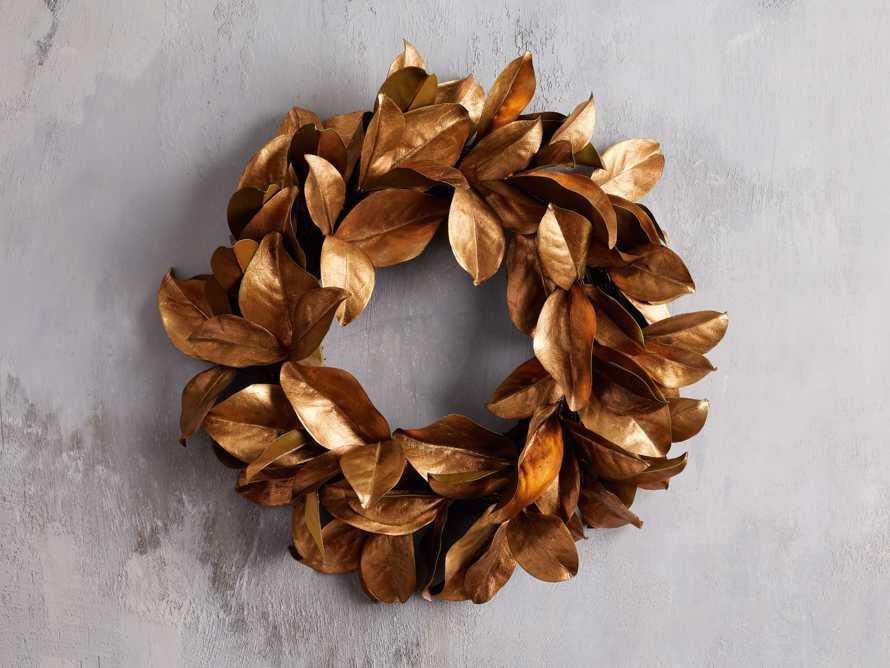 "Faux Magnolia Gold Leaf Wreath 24"", slide 1 of 5"