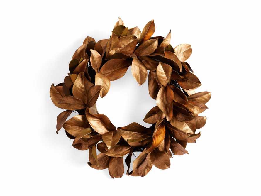 "Faux Magnolia Gold Leaf Wreath 24"", slide 5 of 5"