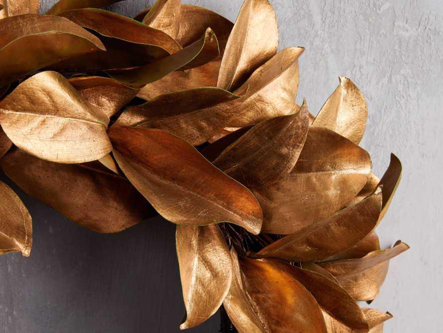 "Faux Magnolia Gold Leaf Wreath 24"", slide 2 of 5"