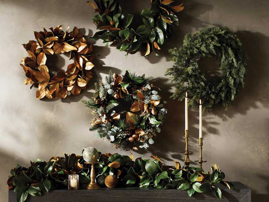 "Faux Magnolia Gold Leaf Wreath 24"", slide 3 of 5"