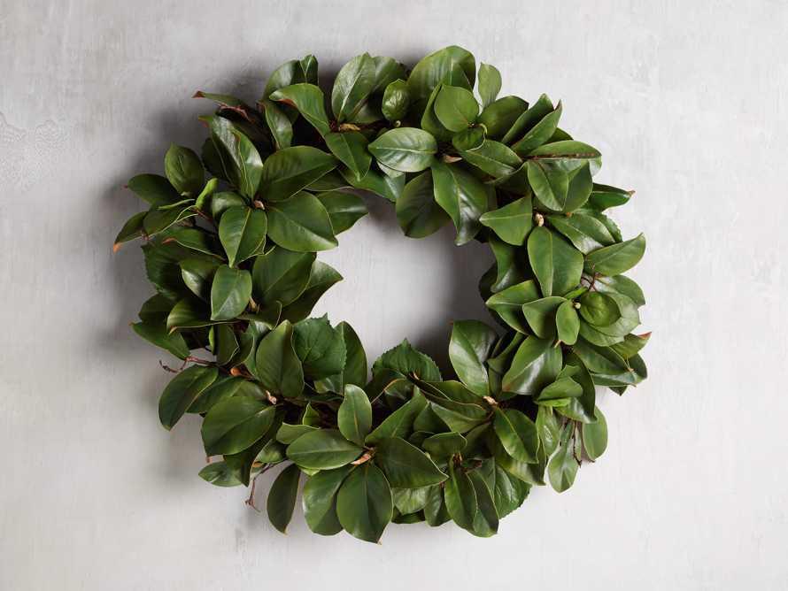 "Faux Magnolia Twig Wreath 30"", slide 1 of 3"