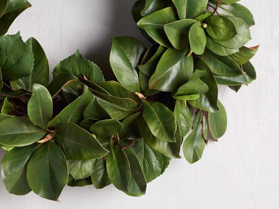 "Faux Magnolia Twig Wreath 30"", slide 2 of 5"