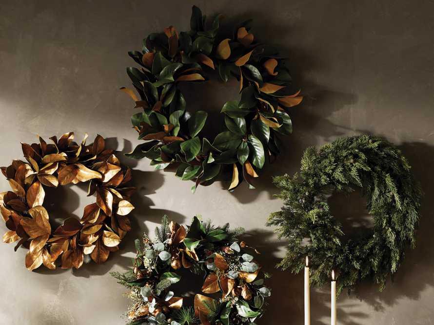 "Faux Magnolia Twig Wreath 30"", slide 4 of 5"