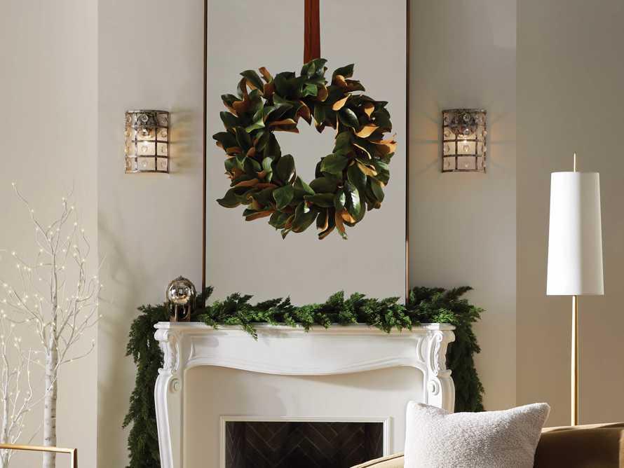 "Faux Magnolia Twig Wreath 30"", slide 3 of 5"