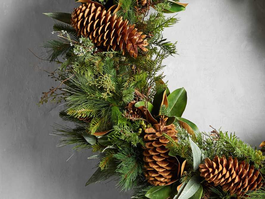 """Faux Pinecone Grand Wreath 42"""", slide 2 of 2"""