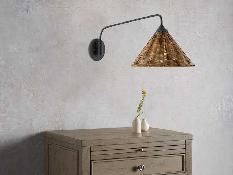 Rattan Swing Arm Sconce, slide 1 of 3