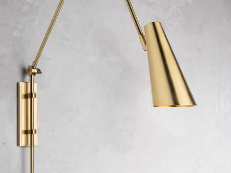 PERCEY BRASS SWING ARM SCONCE, slide 2 of 3