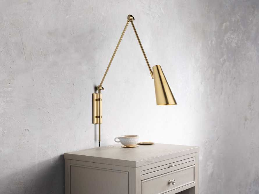 PERCEY BRASS SWING ARM SCONCE, slide 1 of 3
