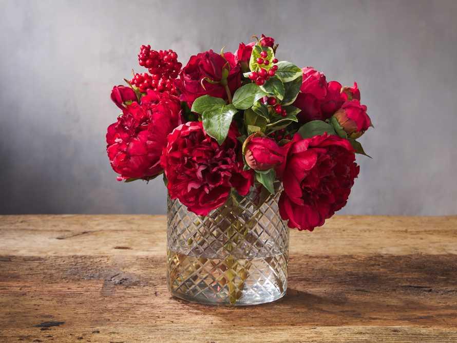 Faux Peony Rose in Vase, slide 1 of 1