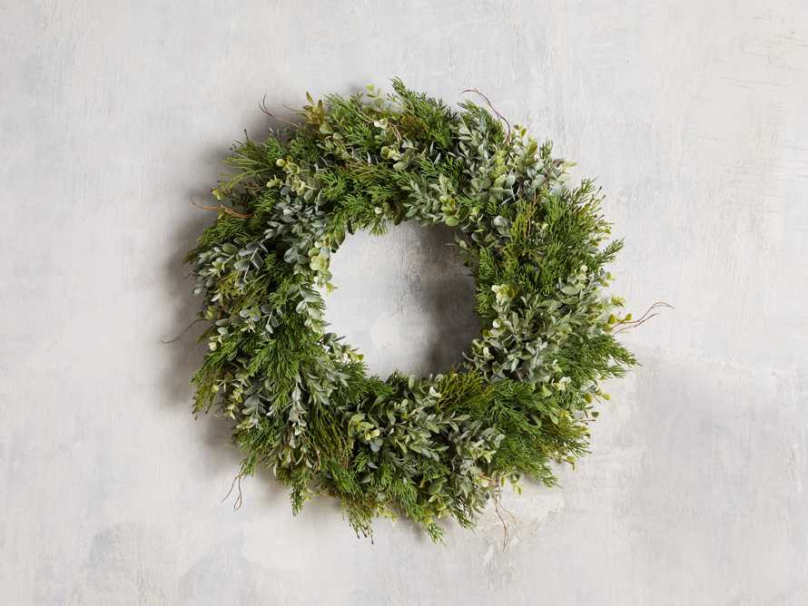 Faux Mixed Greenery Wreath, slide 1 of 3