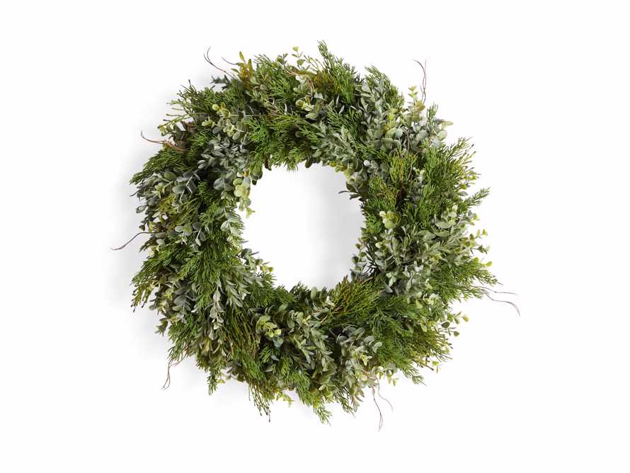 Faux Mixed Greenery Wreath, slide 3 of 3