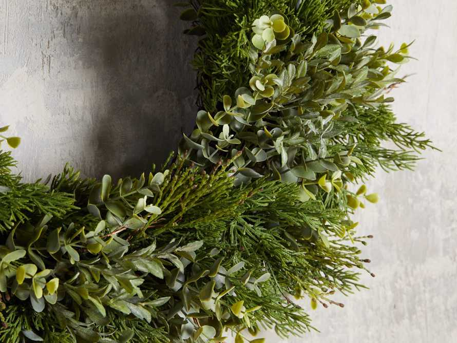 Faux Mixed Greenery Wreath, slide 2 of 3