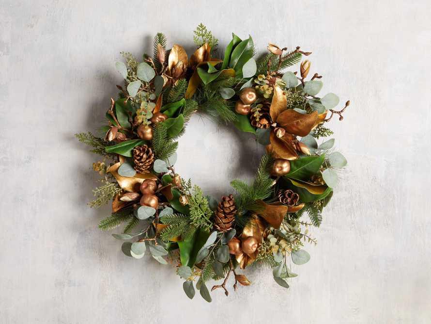 Faux Golden Mix Wreath, slide 1 of 4
