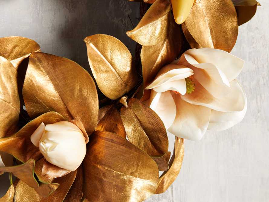 Faux Magnolia Gold Wreath, slide 2 of 3