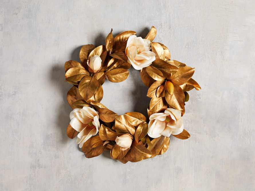 Faux Magnolia Gold Wreath, slide 1 of 3